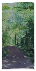 Bath Towel featuring the painting Path To The River by Martin Howard