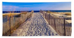 Pathway And Sea Oats On Beach At Santa Hand Towel