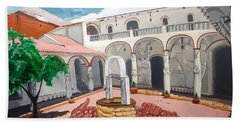 Hand Towel featuring the painting Patio Colonial by Lazaro Hurtado