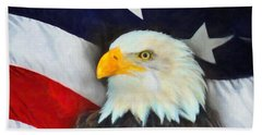 Patriotic American Flag And Eagle Hand Towel by Kenny Francis