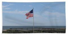 Patriotic Beach View Bath Towel