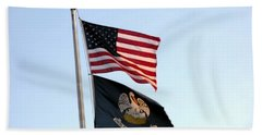 Hand Towel featuring the photograph Patriotic Flags by Joseph Baril