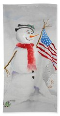 Patriotic Snowman Hand Towel by Jimmy Smith
