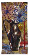 Bath Towel featuring the painting Patriotism Blooms by Margaret Bobb