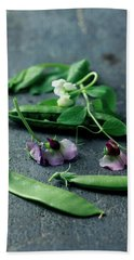 Pea Pods And Flowers Bath Towel