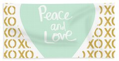 Peace And Love In Aqua And Gold Bath Towel