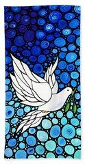 Peaceful Journey - White Dove Peace Art Hand Towel