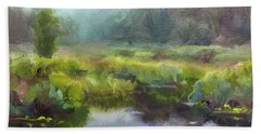 Peaceful Waters Impressionistic Landscape  Hand Towel