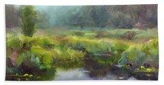 Peaceful Waters Impressionistic Landscape  Bath Towel
