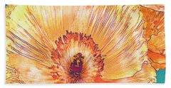 Peach Poppies Hand Towel by Jane Schnetlage