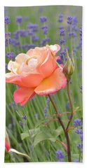 Peach Roses In A Lavender Field Of Flowers Bath Towel