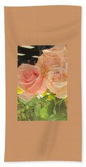 Peach Roses In Greeting Card Hand Towel