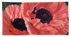 Peachy Poppies Bath Towel