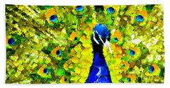Peacock Abstract Realism Hand Towel