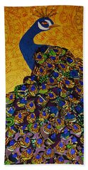 Hand Towel featuring the tapestry - textile Peacock Blue by Apanaki Temitayo M