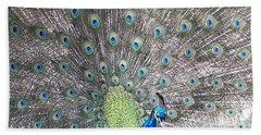 Hand Towel featuring the photograph Peacock Bow by Caryl J Bohn