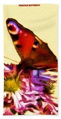 Hand Towel featuring the digital art Peacock Butterfly by Daniel Janda
