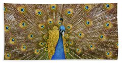 Peacock Courting Bath Towel by Charles Beeler