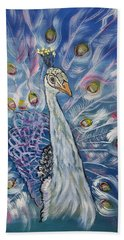 Peacock Dressed In White Hand Towel