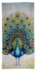 Hand Towel featuring the painting Peacock by Elena Oleniuc