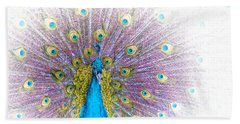 Hand Towel featuring the photograph Peacock by Holly Kempe