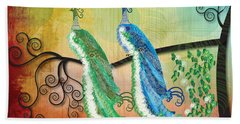 Bath Towel featuring the digital art Peacock Love by Kim Prowse