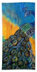 Peacock Waltz #3 Hand Towel by Ella Kaye Dickey