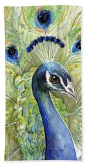 Peacock Watercolor Portrait Hand Towel