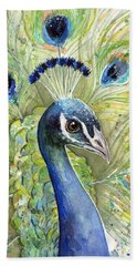 Peacock Watercolor Portrait Bath Towel