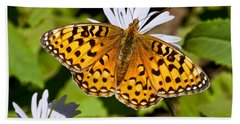Bath Towel featuring the photograph Pearl Border Fritillary Butterfly On An Aster Bloom by Jeff Goulden