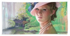 Pearls And Pink Hand Towel by Rob Corsetti