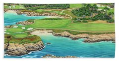 Bath Towel featuring the painting Pebble Beach 15th Hole-south by Jane Girardot