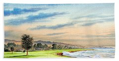 Pebble Beach Golf Course 18th Hole Bath Towel by Bill Holkham