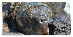 Bath Towel featuring the photograph Peek-a-boo Turtle by Amanda Eberly-Kudamik