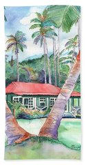 Peeking Between The Palm Trees 2 Bath Towel by Marionette Taboniar