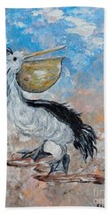 Hand Towel featuring the painting Pelican Beach Walk - Impressionist by Eloise Schneider