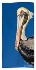 Hand Towel featuring the photograph Pelican by Les Palenik