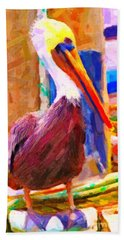 Pelican On The Dock Hand Towel