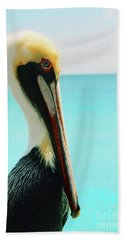 Pelican Profile And Water Hand Towel by Heather Kirk