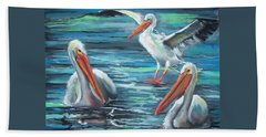 Hand Towel featuring the pastel Pelican Profile by Peter Suhocke