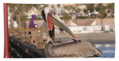 Pelican Sitting On Pier  Bath Towel