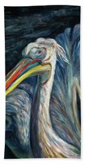 Hand Towel featuring the painting Pelican by Xueling Zou