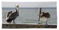 Pelicans On The Pier At Fort Myers Beach In Florida Bath Towel
