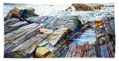 Hand Towel featuring the painting Pemaquid Rocks by Roger Rockefeller