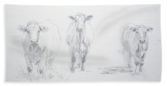 Pencil Drawing Of Three Cows Hand Towel