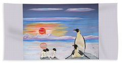 Penguin Family Hand Towel by Phyllis Kaltenbach