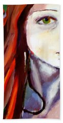 Hand Towel featuring the painting Pensive Lady by Helena Wierzbicki