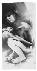 Bath Towel featuring the drawing Pensive by Paul Davenport