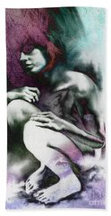 Bath Towel featuring the drawing Pensive With Texture by Paul Davenport