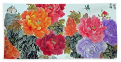 Peonies And Birds Hand Towel by Yufeng Wang